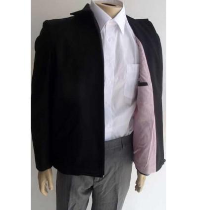 Jaqueta preta de lã italiana estilo blazer com ziper e forro interno vermelho, cód 1241