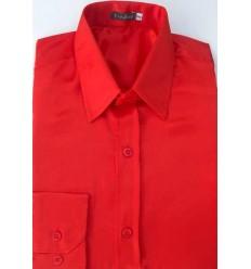 Camisa laranja em tecido de cetim de poliéster com brilho, manga longa, cód 1498LB