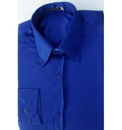 Camisa azul em tecido de cetim de poliéster com brilho, manga longa, cód 1498AB