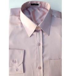 Camisa rosa em tecido de cetim de poliéster com brilho, manga longa, cód 1498RB