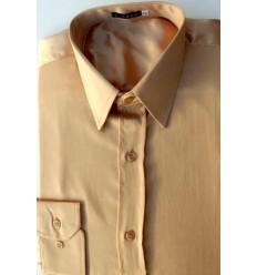 Camisa de cetim de poliéster, cor amarelo ouro com brilho, manga longa, cód 1498AMB