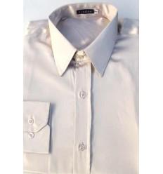 Camisa bege em tecido de cetim de poliéster com brilho, manga longa, cód 1498BOB