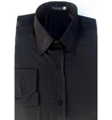 Camisa preta em tecido de cetim de poliéster com brilho, manga longa, cód 1498PB