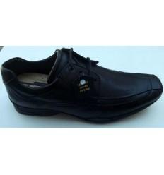 Sapato preto de couro com cadarço e amortecedor para absorver impacto, cód 1270