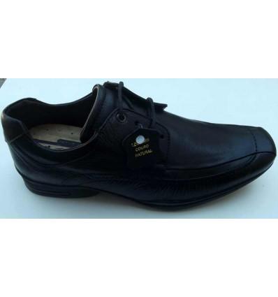 Sapato preto de couro com cadarço e amortecedor para absorver impacto, cód 1270  Entrega imediata com todas garantias da Empr