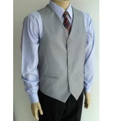 Colete para terno modelo tradicional, cor cinza em poliviscose, cód 1422