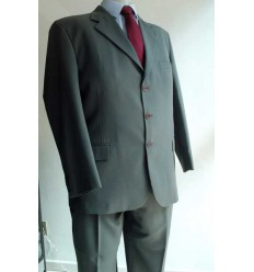 Terno extra grande, verde cinza, corte  tradicional, de microfibra oxford,  Ref.  1310