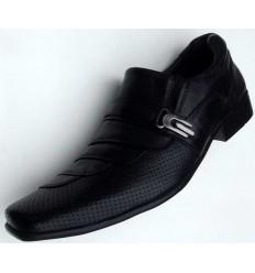 Sapato de couro social, preto sem cadarço e solado antiderrapante, cód  1497,  Ref 4007