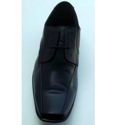 Sapato Extra Grande de couro social, preto com cadarço, solado de borracha antiderrapante, cód  1497, Ref 4005