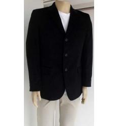 Blazer de algodão, preto, corte italiano com duas aberturas, cód 248