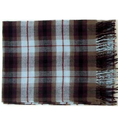 Cachecol marrom com listras quadriculadas  em tecido leve e macio 100% acrílico, anti-alérgico, cod 1447