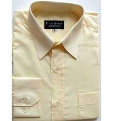 Camisa amarela, manga longa em tecido passa fácil, padrão exportação,  Cód. 214