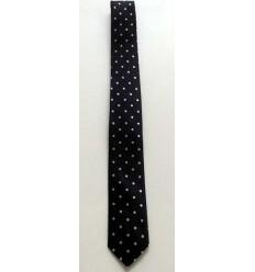 Gravata preta com bolinhas brancas em tecido 100% poliéster, cod 1474