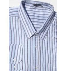 Camisa plus size, extra grande listrada de algodão, manga comprida, Cód 991BAM