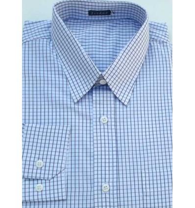 Camisa extra grande masculina de algodão, manga comprida, quadriculada, Cód 991AZB