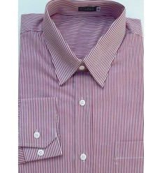 Camisa extra grande masculina de algodão, manga comprida, listrada  vermelha e branca, Cód 991VRM