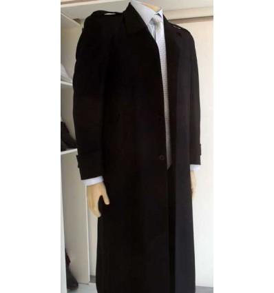 Sobretudo de tecido poliéster, cor preto, modelo longo com corte inglês, Cód 1029