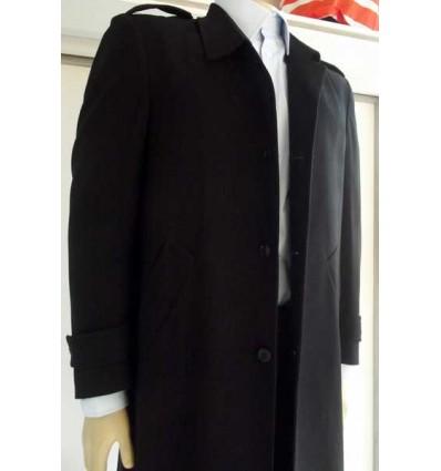 Sobretudo extra grande em tecido de poliéster preto, modelo longo com corte inglês, Cód 1205
