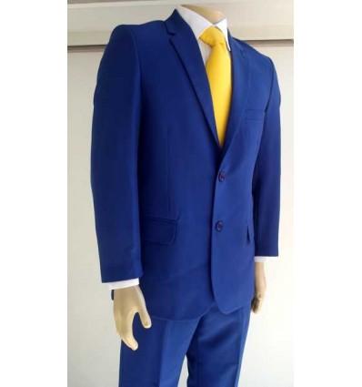 Terno azul royal com dois botões, corte tradicional em tecido de microfibra de ótima qualidade, cód 13642B