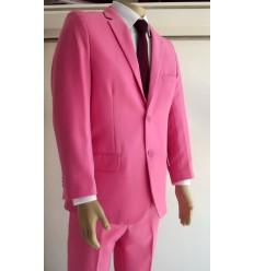 Terno rosa de 2 botões, corte tradicional em tecido de microfibra de ótima qualidade, cód 1364