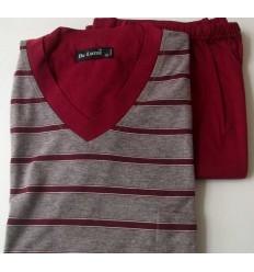 Pijama de malha, 100% algodão, com bermuda, na cor cinza e vermelho, cod 593