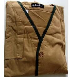 Pijama manga longa com calça em mallha 100% de algodão, cor kaki, cód 591