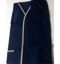 Pijama manga longa com calça comprida em malha 100% de algodão, cor azul cód 591