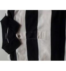 Fredao Moda Masculina Camiseta polo com listras pretas e brancas em tecido 100% algodão, cód 1196 Entrega imediata com todas g