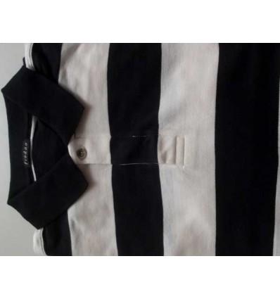 Camiseta polo com listras pretas e brancas em tecido 100% algodão, cód 1196