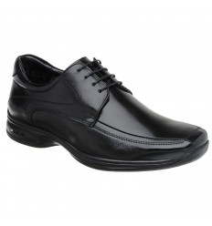 Sapato Extra Grande preto de couro legitimo com amortecedor e tecnologia Air 3D, altamente confortável, cód. 1593