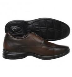 Sapato Extra Grande marrom de couro legitimo com amortecedor e tecnologia Air 3D, altamente confortável, cód. 1593