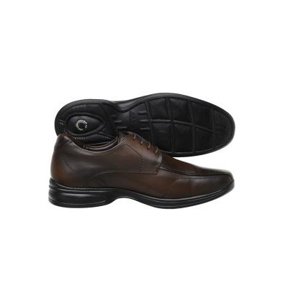 Sapato Extra Grande marrom de couro legitimo com amortecedor e tecnologia Air 3D, altamente confortável, cód. 1593 Entrega im