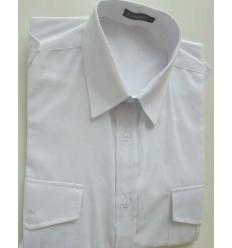 Camisa branca com dois bolsos e galões nos ombros, manga curta em tecido passa fácil ,  cód. 1588
