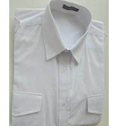 Fredao Moda Masculina Camisa branca com dois bolsos e galões nos ombros, manga curta em tecido passa fácil ,  cód. 1588 Entre
