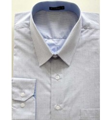Camisa Plus Size, (Extra Grande), branca com listinhas manga longa de puro algodão fio 120 Egípcio, cód 1585