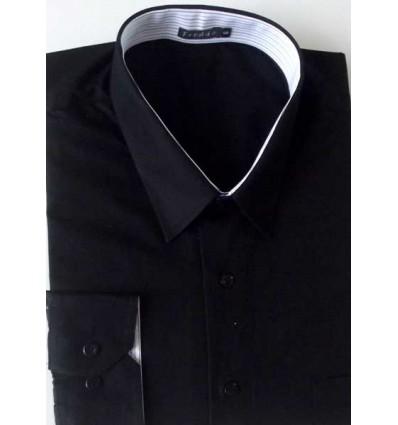 Camisa Plus Size, (Extra Grande), preta manga longa de puro algodão fio 120 Egípcio, cód 1585