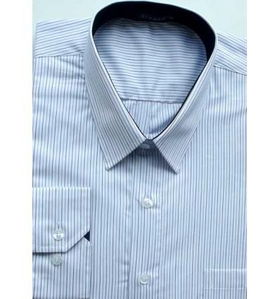 Camisa Extra Grande, Plus Size, manga longa de algodão fio 120 egipcio, cor branca com listrinhas azul e preta, cód 1585