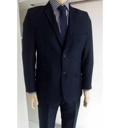 Fredao Moda Masculina Terno azul noite modelo slim fit em tecido oxford e corte italiano com duas abertura atrás de dois botõe