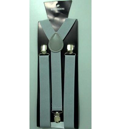 Suspensório prata em elástico reforçado com perfeito acabamento, cód S01p