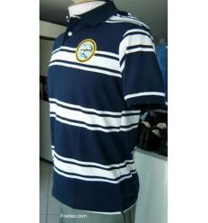 Camiseta gola polo, cor azul com listras brancas. Cod. 846