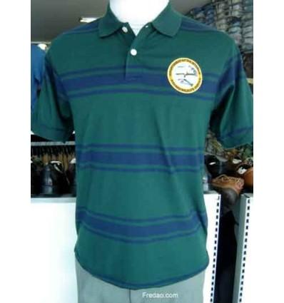 Camiseta gola polo, cor musgo com listras azuis. Cod. 847