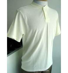 Camiseta bege gola portuguesa em tecido de ótima qualidade com perfeito caimento, cód 870