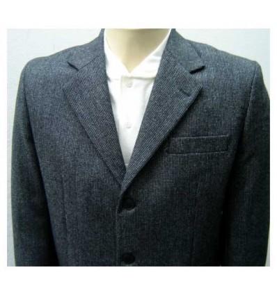 Blazer grafite em tecido 100% de lã tweed nobre, corte tradicional, cód 1157
