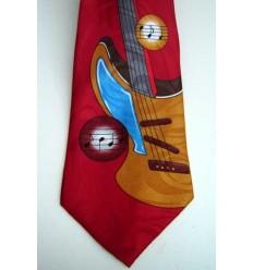 Gravata vinho tradicional longa com design guitarra, cód 961GU