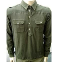 Camisa esporte fino cor musgo, manga longa com caimento perfeito, cód CA01