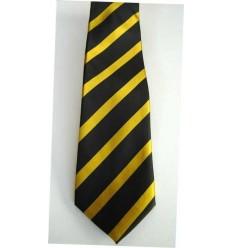 Gravata preta com listras cor de ouro, modelo tradicional com ótimo caimento, cód 374.A5