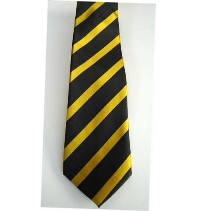 Gravata preta com listras cor de ouro, modelo tradicional com ótimo caimento, cód 374.A5 Entrega imediata com todas garantias
