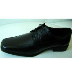 Sapato preto de couro, com cadarço, padrão exportação,  cód 142