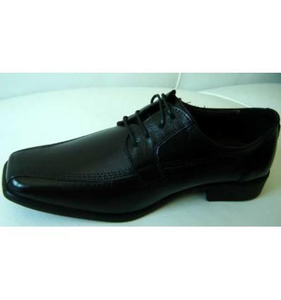 Sapato masculino de couro preto, com cadarço, padrão exportação,  Ref. 142 Entrega imediata
