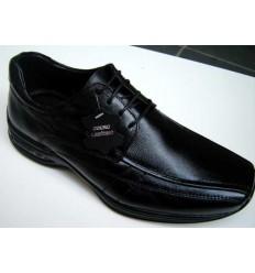 Sapato masculino preto de couro com tecnologia air system, cód 1055